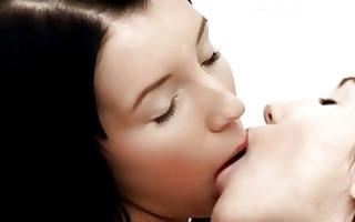 beautiful brunette lesbian babes giving a kiss