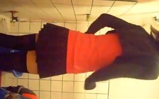 haruhi trap masturbates in public bathroom and