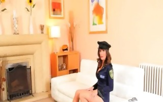 policewoman strip on the white bed