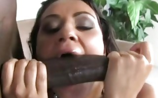rod sucking brunette slut gets biggest darksome