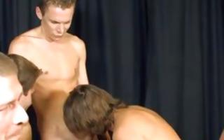 homo twink bukkake group-sex facial