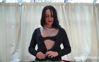 sheer pants masturbation wearing stockings
