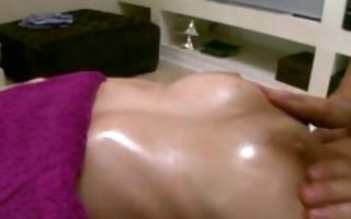 masseur fingers his clients shaved cunt