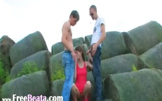 gentle double fuck outside with legal age teenager