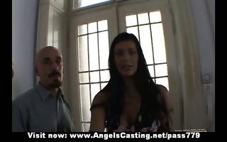 amateur hot brunette bride pleasing talking and