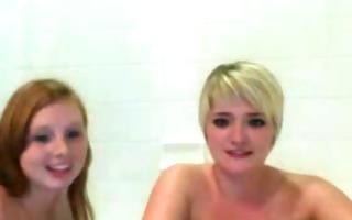two lesbians having a washroom