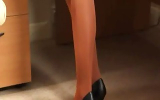 hot secretary undressing and stripping