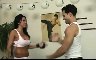 horny dark brown babe learns how to fight