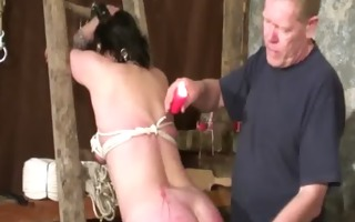 fetish loving goth tied up for wax play
