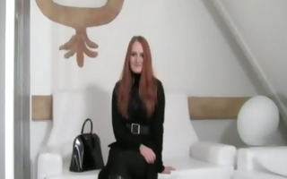 redhead enjoying copulate on white divan