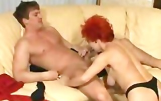 red hair housewife ridding on juvenile penis