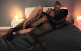 crazy lesbos in nylon suits having sex