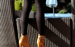 incredible golden-haired in shoes masturbating
