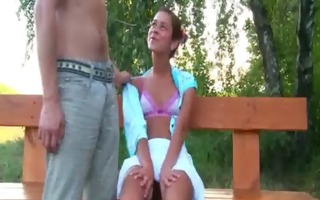 russian legal age teenager couple fuck on a bench