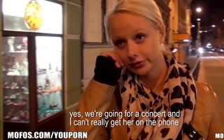 cute blond czech student is paid for sex in public