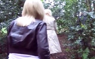 blonde milfs engulf off stranger in forest
