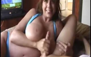 super large mangos milf in bikini doing blowjob