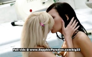 carie and bianca lusty lesbian gals giving a kiss
