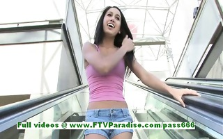 ileana awesome brunette hair woman public