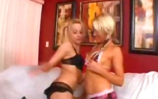 blondes in pigtails make for a hot threesome