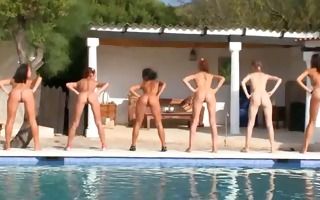 six bare beauties by the pool from usa