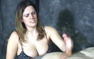 large titted dominatrix masturbates and slaps a