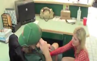 mama visits him at work