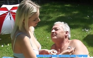 old man enjoying massive boobs and young vagina
