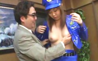 concupiscent guy licks a policewomans tits and