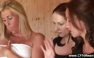 steamy act in sauna with lustful babes