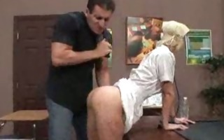 golden-haired nurse works her boss dick