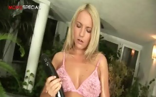 golden-haired sexually excited chick working on a