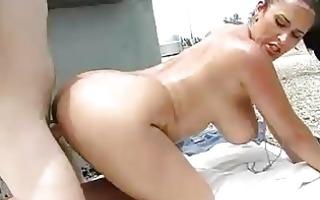 plump brunette with huge meatballs gets slammed