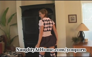 wife puts on school girl outfit