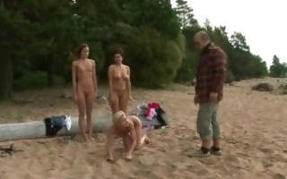 bare training on the beach for 3 gals