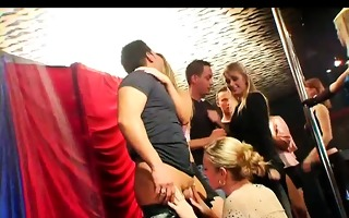 smutty party women engulf dongs in club orgy