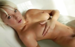 enchanting blond chick morning shower