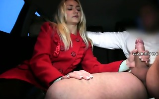 fake taxi driver cums inside blond after