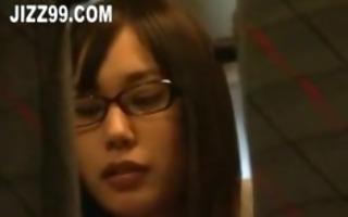 cute glasses gal fucked by geek on plane