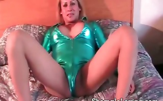 nasty ladyman in sexy outfit sticking a giant