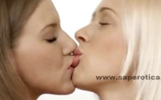 pair of young cute lesbian babes playing with