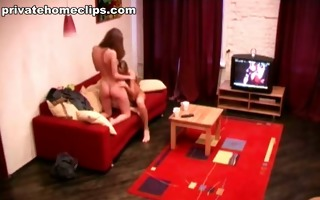 nice-looking college angels strip and go down on