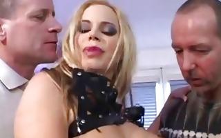 golden-haired slut with big milk shakes wearing
