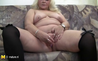 large grandmother loves fascinating herself