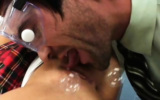 blonde gal pounded hard on her teachers table