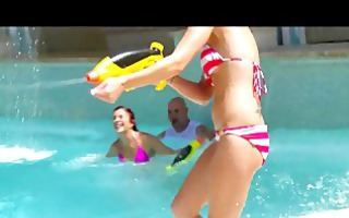 bikini-clad brunettes share big-cock in hawt