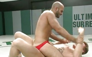 shaved homosexual stud abused during wrestling