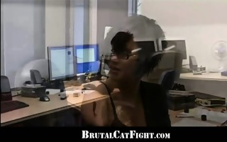 brunettes catfights and fuck during office work